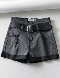 Fashion Gray Washed And Rolled Holes: Washed Denim Shorts