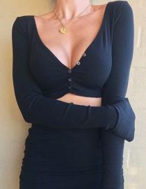 Fashion Black Large V-neck Short T-shirt