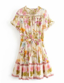 Fashion Beige Printed Waist Elastic Ruffled Dress
