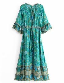 Fashion Green Phoenix Bird Print Trumpet Sleeve Waist Dress