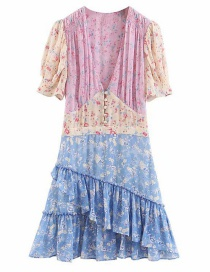 Fashion Purple + Blue Ruffled Floral Stitching V-neck Dress