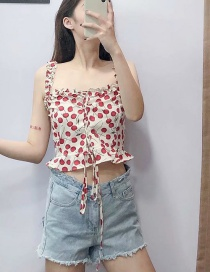 Fashion White Cherry Printed Wood Ear Straps Sling Shirt