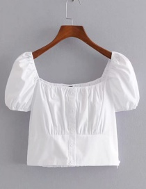 Fashion White Single-breasted Square Collar Short Shirt