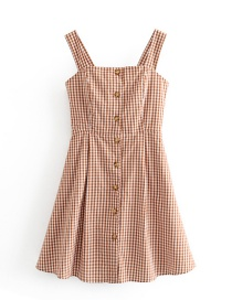 Fashion Caramel Colour Checkered Row Of Suspender Dresses