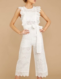 Fashion White Cotton Embroidered Jumpsuit