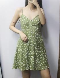 Fashion Green Floral Sling Dress
