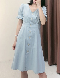 Fashion Light Blue Button V-neck Denim Dress