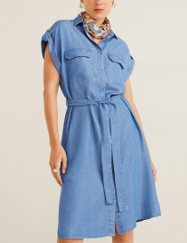 Fashion Blue Denim Roll Cuffs Belt Dress