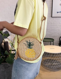 Fashion Pineapple Yellow Straw Embroidered Shoulder Bag
