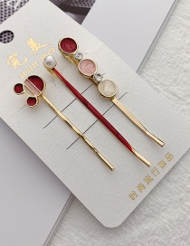 Fashion Bear Wine Red Geometric Metal Hair Clip Set