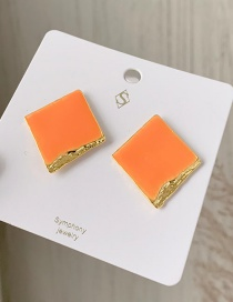 Fashion Orange Alloy Drip Geometry Stud Earrings