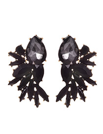 Fashion Black Alloy Drop Diamond Stud Earrings