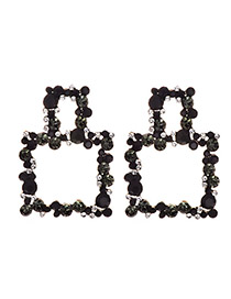 Fashion Black Alloy Studded Geometric Earrings