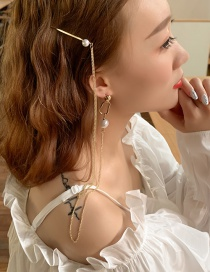 Fashion Gold Asymmetric Earrings Hairpin Integrated Chain