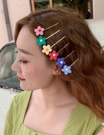 Fashion Green Flower Alloy Resin Flower Hair Clip