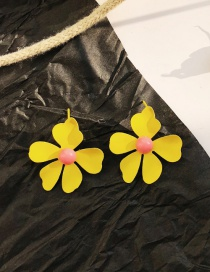 Fashion Yellow Contrast Color Flower Earrings