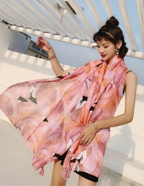 Fashion Pink Flamingo Cotton And Linen Printed Scarves
