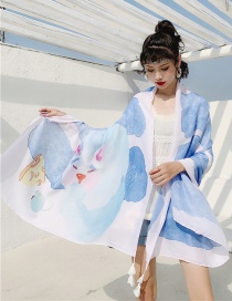 Fashion Snow Mountain Holy Beast Cotton And Linen Printed Scarves