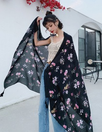 Fashion Black Cotton And Linen Printed Scarves