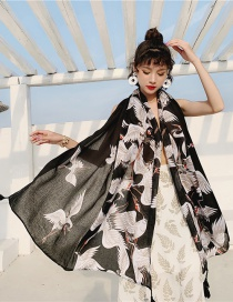 Fashion Black Crane Cotton And Linen Printed Scarves