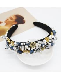 Fashion Blue Geometric Crystal Full Diamond Headband