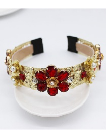 Fashion Gold + Red Diamond Gemstone Flower Geometric Headband