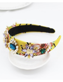 Fashion Yellow Star Diamond Gems Geometric Petals Pearl Leaves Headband