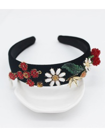 Fashion Black Plush Five-pointed Star Cross Pearl Headband