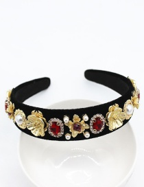 Fashion Red Full Diamond Metal Flower Pearl Large Gemstone Geometric Headband