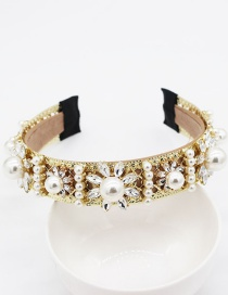 Fashion Gold Pearl Flower Geometric Headband