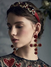 Fashion Red Flower-studded Headband