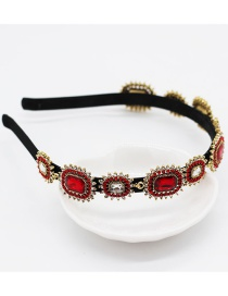 Fashion Red Metal Geometric Full Diamond Pearl Leaf Headband