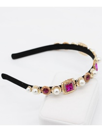 Fashion Fuchsia Square Gemstone Pearl Headband