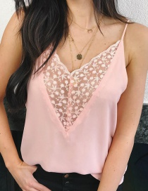 Fashion Pink Sling Lace Chiffon Tube Top