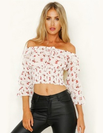 Fashion Safflower One-neck Pleated Print Tube Top