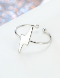 Fashion Lightning Silver Star Moon Lightning Round Open Ring