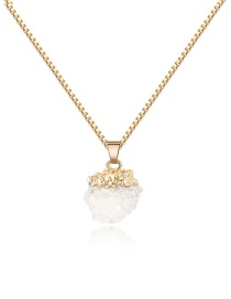 Fashion White Natural Stone Crystal Bayberry Ball Necklace