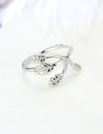 Fashion Leaf Silver Resin Adjustable Ring
