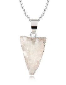 Fashion White Triangle Natural Stone Crystal Necklace