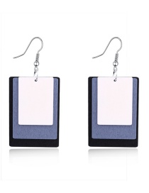 Fashion White Square Multi-layer Hollow Wood Earrings