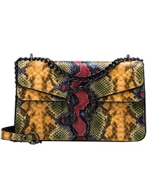 Fashion Yellow Pu Alloy Snake Shoulder Bag