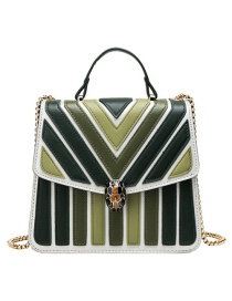 Fashion Green Pu Alloy Stripe Contrast Lock Single Shoulder Bag