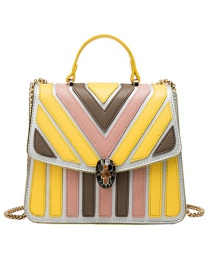 Fashion Yellow Pu Alloy Stripe Contrast Lock Single Shoulder Bag