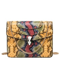 Fashion Yellow Pu Alloy Snake Lock Buckle Shoulder Bag