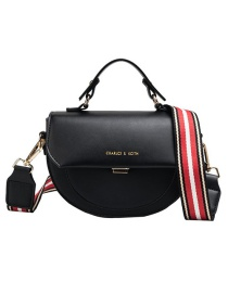 Fashion Black Pu Shoulder Strap Semi-circular Shoulder Bag