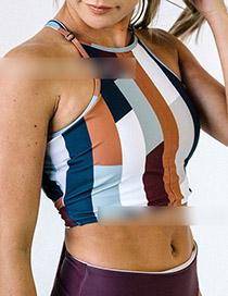 Fashion Coffee Trousers Striped Printed Apron Split Swimsuit