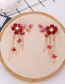 Fashion Red Flower Butterfly Crystal Tassel Hair Clip