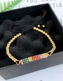 Fashion Gold Copper Inlaid Zircon Rope Beaded Bracelet