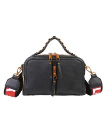 Fashion Black Pu Zipper Shoulder Bag