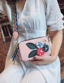 Fashion Pink Pu Flower Square Shoulder Bag